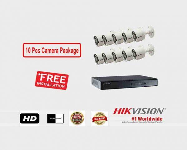 10 Pcs CCTV Camera Package (Hikvision)