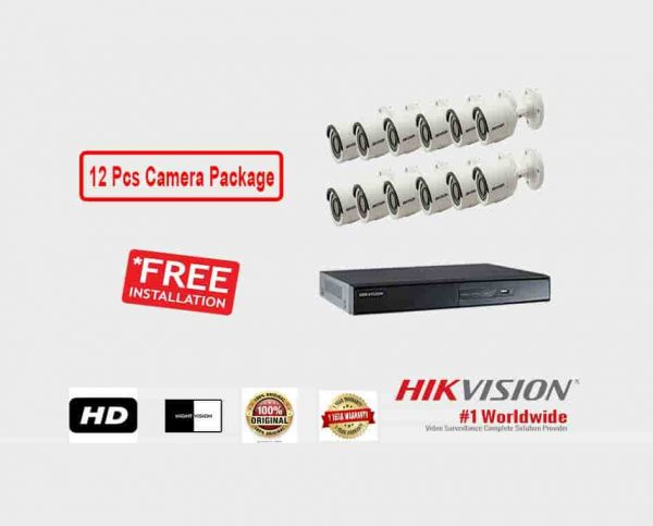 12 Pcs CCTV Camera Package (Hikvision)