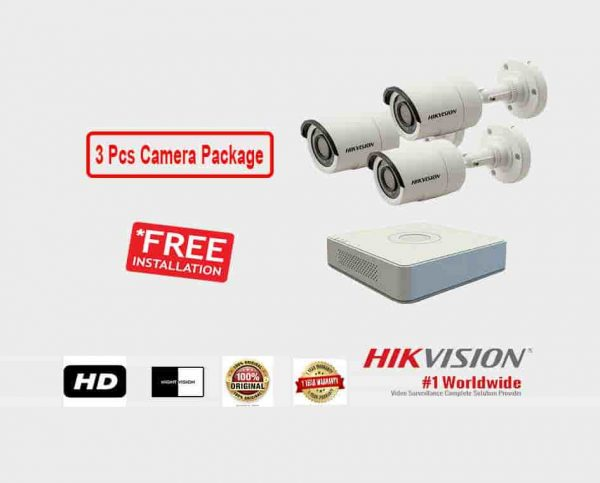 3 Pcs CCTV Camera Package (Hikvision)
