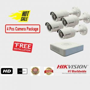 4 Pcs CCTV Camera Package (Hikvision)