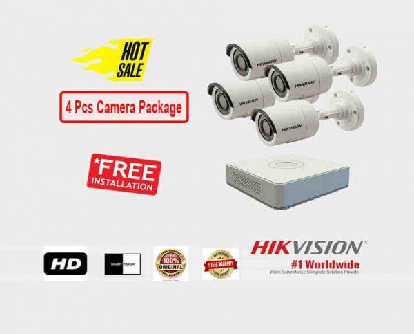 4 Pcs CCTV Camera Package (Hikvision)
